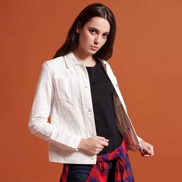 女裝白色仿舊多口袋牛仔外套