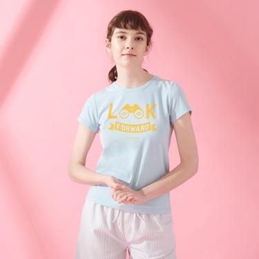 女裝棉質圓領標語印花T恤