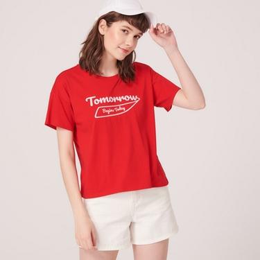 女裝英文圖案刺繡短袖寬版T恤
