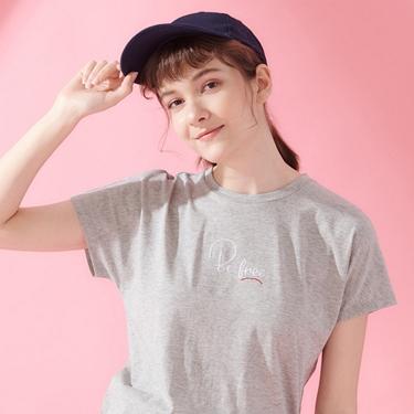 女裝純棉寬版刺繡造型T恤
