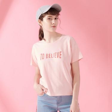 女裝復古風格印花短袖寬版T恤