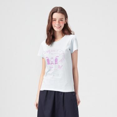 女裝可愛貓咪印花純棉T恤