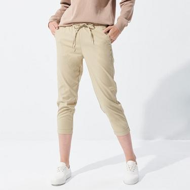 女裝素色腰鬆緊反折休閒長褲