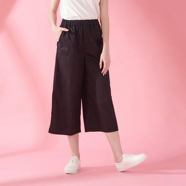 女裝素色鬆緊腰八分寬褲