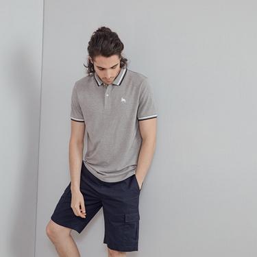 男裝素色駱駝刺繡POLO衫