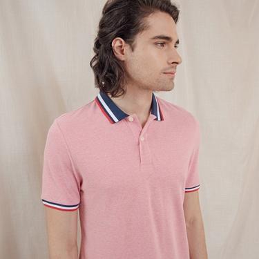 男裝素色線條拼接POLO衫