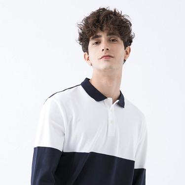 男裝拼接彈性長袖POLO衫