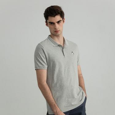男裝素色企鵝刺繡POLO衫