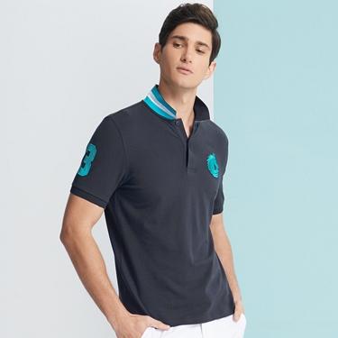 男裝馬頭立體刺繡彈力萊卡短袖POLO衫