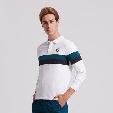 男裝立體刺繡撞色長袖POLO衫