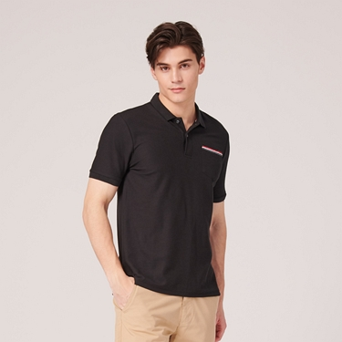 男裝素色織帶口袋POLO衫