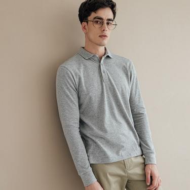 男裝素色長袖POLO衫