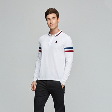 男裝精緻帆船刺繡長袖POLO衫