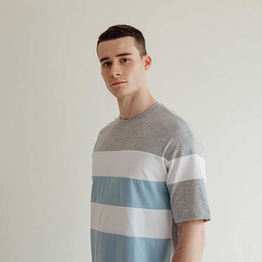 男裝落肩圓領條紋T恤
