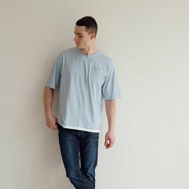 男裝口袋假兩件T恤