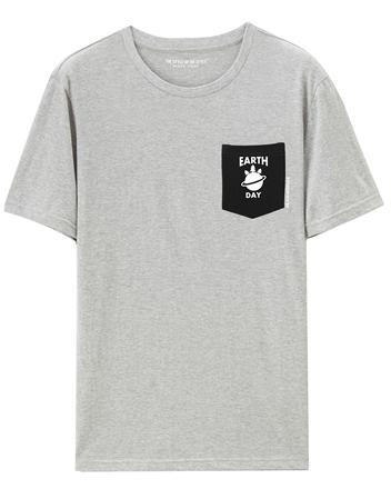 男裝單邊口袋趣味印花T恤
