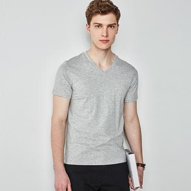 男裝棉質V領素色短袖T恤