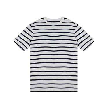 男裝棉質寬版圓領條紋T恤