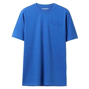 男裝素色寬版圓領口袋T恤