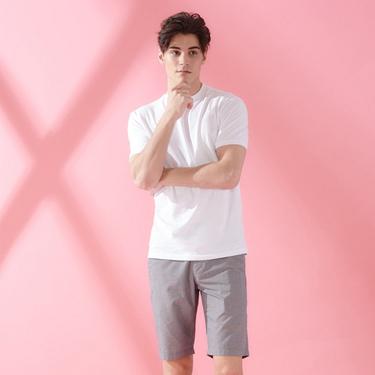 男裝寬鬆落肩素色貼領T恤
