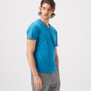 男裝棉質V領素色T恤