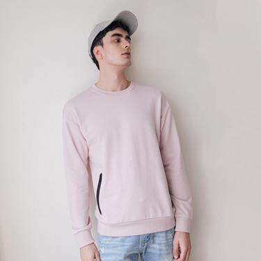 男裝雙拉鍊口袋大學T恤