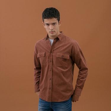男裝工裝風燈芯絨襯衫