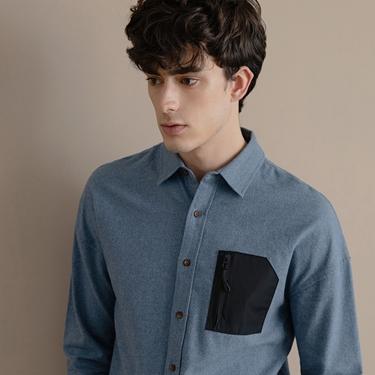 男裝拉鍊單口袋磨毛長袖襯衫