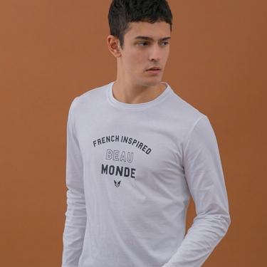 男裝經典標語印花T恤