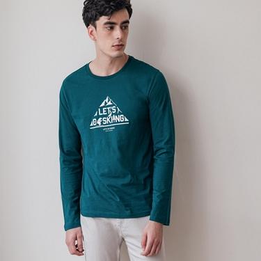 男裝GO SKIING印花長袖T恤