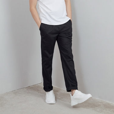 男裝素色抽繩休閒長褲