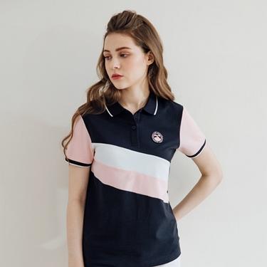 女裝粉色拼接彈性萊卡POLO衫