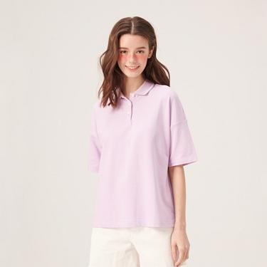 女裝雙色領面素色寬版POLO衫
