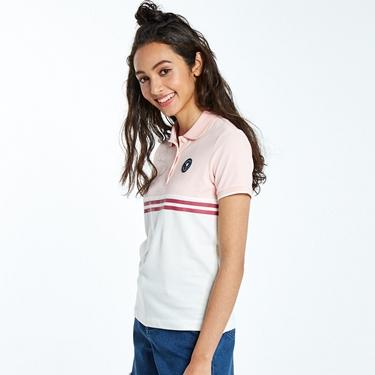 女裝粉紅拼接刺繡彈力萊卡POLO衫