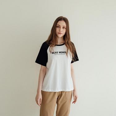 女裝牛角袖圓領T恤