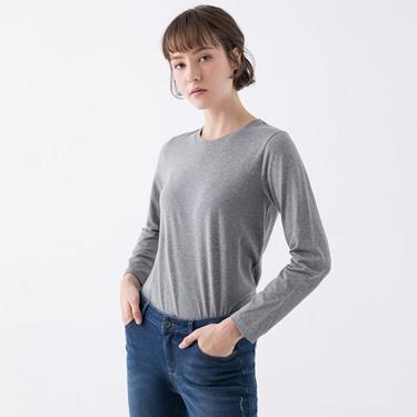 女裝素色圓領長袖T恤