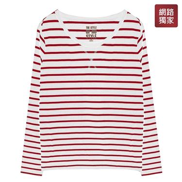 圓領條紋百搭基本款長袖T恤