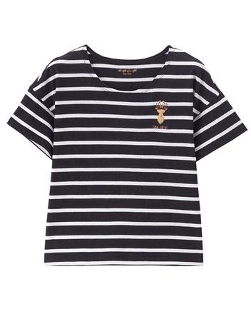 女裝圓領可愛刺繡寬短版T恤