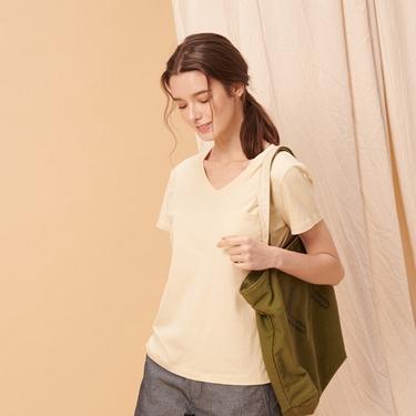 女裝棉質素色V領口袋T恤