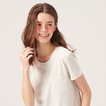 女裝寬版素色圓領口袋T恤
