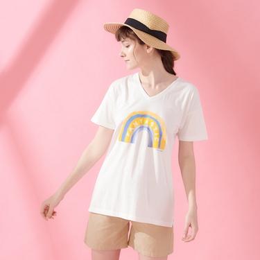 女裝V領寬版印花短袖T恤