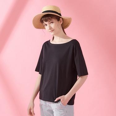 女裝垂墜風船領短袖T恤