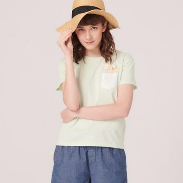 女裝DEAR WORLD 系列純棉印花口袋T恤