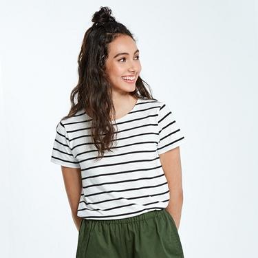 女裝圓領竹節棉寬版T恤
