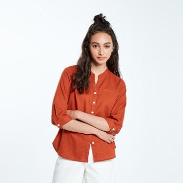 女裝自然棉麻系列七分袖襯衫