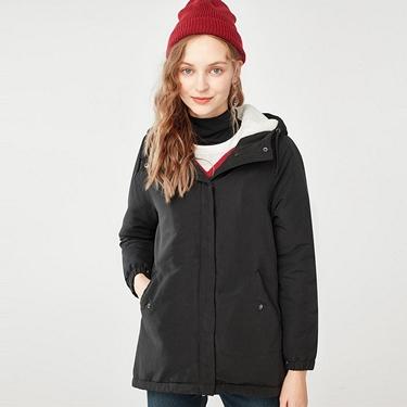 女裝刷毛鋪棉短版連帽厚外套