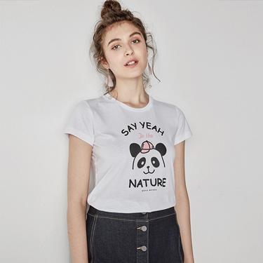 女裝可愛熊貓短袖印花T恤
