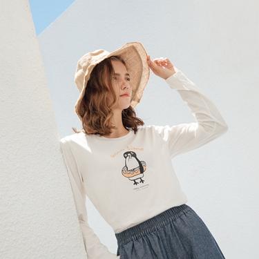 女裝HAPPY MOMENTS印花長袖T恤