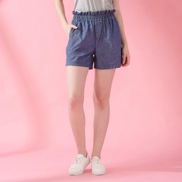 女裝荷葉邊褲頭鬆緊薄牛仔短褲