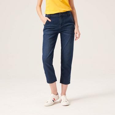 女裝刷色中腰直筒九分牛仔褲
